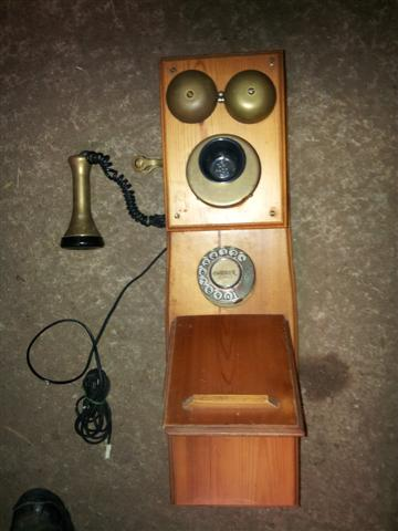 Pine Aristocrat dial wood wall telephone