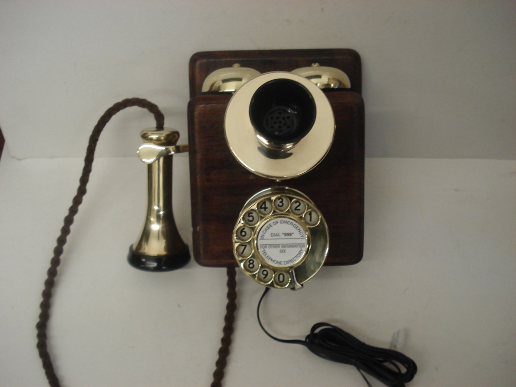 Original wooden 1A bell box telephone with new brass fittings