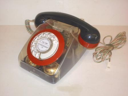 Two-tone Retro plastic dial phone; new see-through body